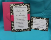 5x7 Damask Formal Wedding Invitation Suite
