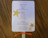 Beach Themed 5x7 Wedding Fan Program with Custom Ribbons, Photo, and Die Cuts