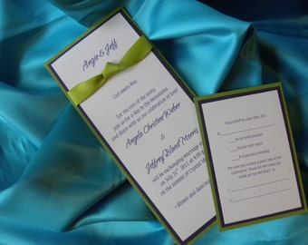 4x9 Bright Colors Wedding Invitation Suite w/ RSVP and Matching Envelope