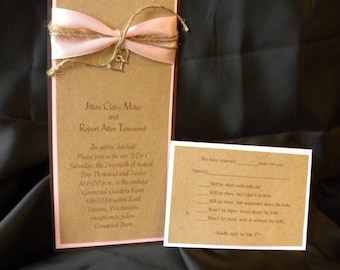 Rustic 4x9 Wedding Invitation Suite with RSVP and Hearts Charm and Twine