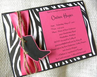 5x7 Baby Shower or Bachelorette Party Invitation with Zebra or Cheetah Print and Cowboy Boot  for a Lil' Country