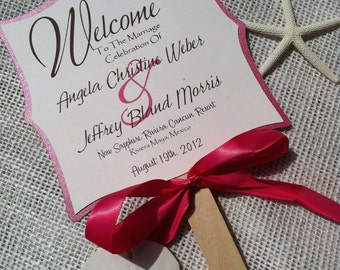 Custom Die Cut Square Wedding Favor Fans 3 Layers