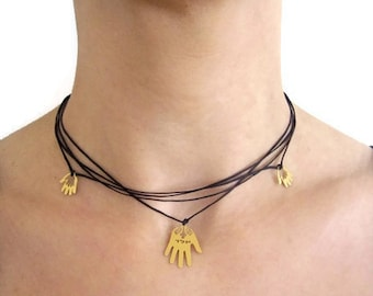 Triple Goodluck Charm Necklace with 18k gold plated Hamsa Hand Amulets