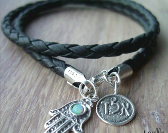 Black Leather Bracelet with Sterling Silver Hamsa Hand and ALD Kabbalah Charms