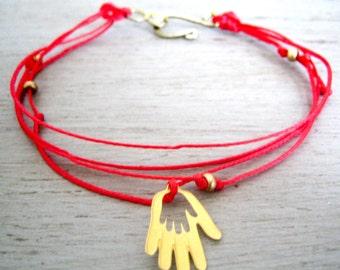 Red Kabbalah Bracelet and 24k Gold plated Hamsa Hand Charm