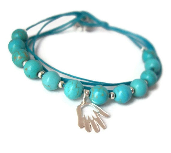 Turquoise and Silver gift of luck -  Hamsa hand charm bracelet & Turquoise beads
