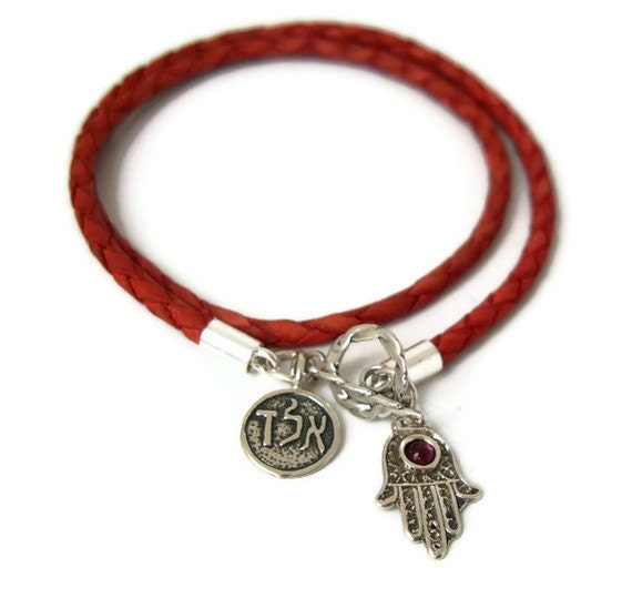 FREE SHIPPING gift - double luck charms bracelet - soft red Leather and Sterling Silver Hamsa Hand and ALD Kabbalah Charms