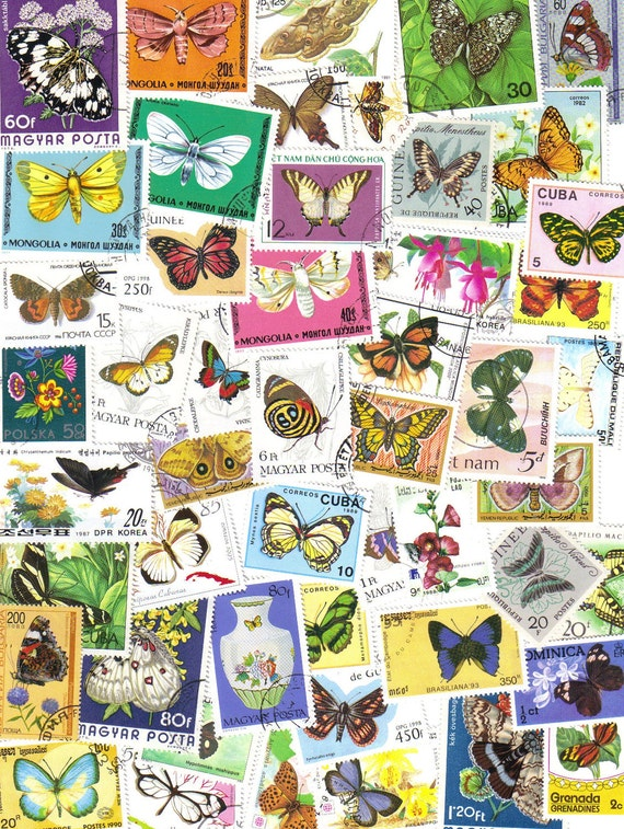 50 Butterfly postage stamps - Vintage postage stamps for scrapbooking - collage - card making