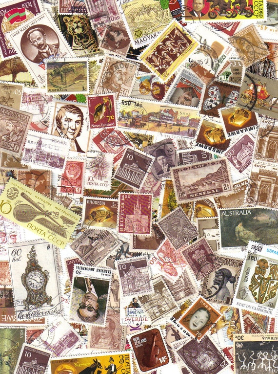 100 plus World wide brown - Vintage postage stamps - for mixed media, collage, scrapbooking and card making