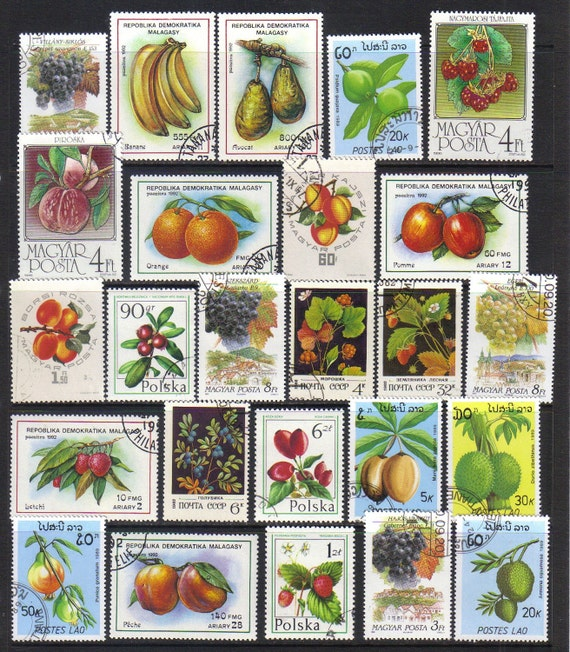 Fruit cocktail - Postage stamps  - apples, peaches, pomegranites, raspberry, grapes, bananas etc