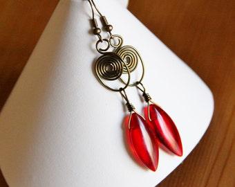 Antique red earrings earthy brass swirl charm wire wrapped beaded long dangle drop boho bohemian bold glass bead chic gypsy hippie jewelry