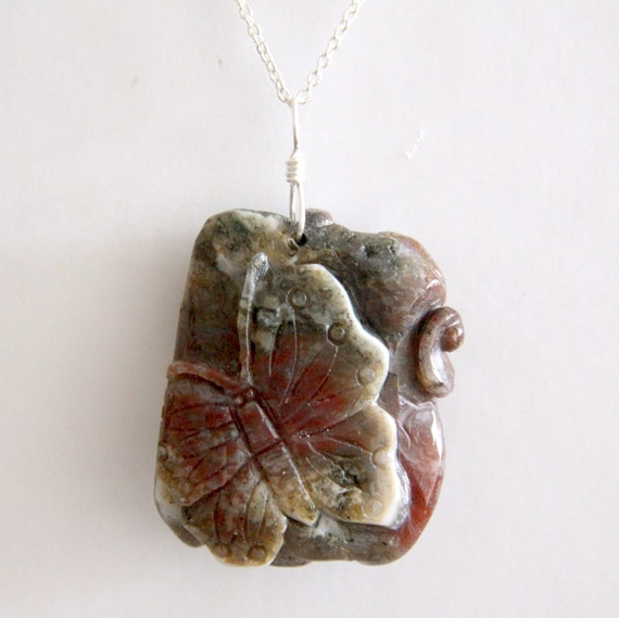 SALE - Beautiful Jasper Butterfly on sterling silver