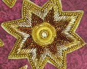 Sew on Beaded applique trim- embroidered-Star shaped-Purl yarn-Gold-brooch