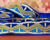 Woven -2 meter- Imported embroidered ribbon- Embellished ribbon- Purple and Blue
