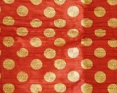 Maroon crinkled Two tone fabric- gold printed motifs- fat quarter