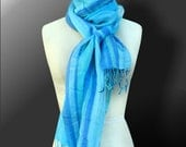 Stole in Woven stripes- Blue, Turquoise and Cobalt