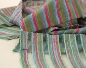 Stole-'WINTER BERRY'- Mesh  with woven stripes