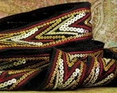 Ribbon in Black with Red and sequins