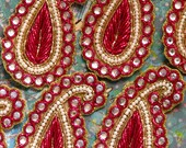 Sew on Beaded applique trim paisley-Red velvet, pearl color beads and Purl yarns