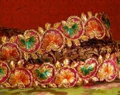 Floral embellished ribbon-1meter- intricate embroidery with Goldwork
