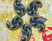 Sew on Beaded applique trim paisley- Teal Blue and Gold color Purl yarns