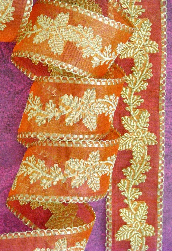 Woven -1 meter- Imported ribbon- Peach and gold zari