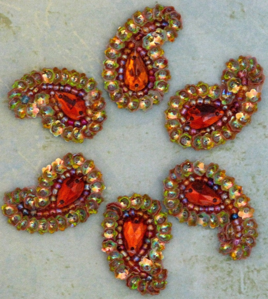 Embroidered Beads: Sew On Beaded Applique Orange/Gold Paisley Hand Embroidered