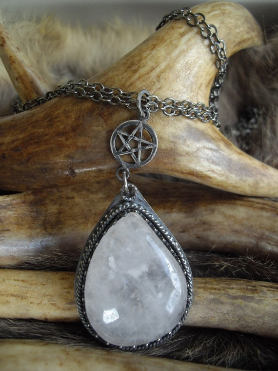 large crystal quartz and sterling silver pentacle necklace