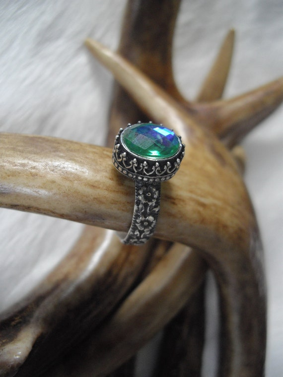 ring with mystic topaz in sterling silver,  size 8