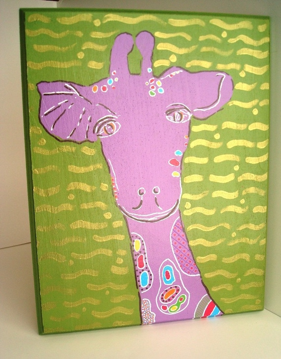 Art Wall Jr Green Jacket : Sweet giraffe original nursery wall art painting