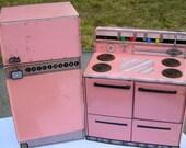 Vintage Pink Wolverine Tin Kitchen Set