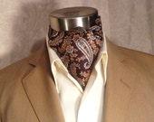 Vintage Liberty of London Brown Paisley Silk Ascot Cravat