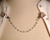 Vintage Sea Shell & Pearl Chain Sweater Clip Guard