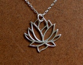 Sterling silver lotus blossom flower pendant and 18 inch sterling silver necklace