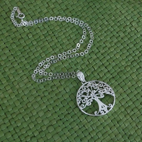 Large sterling silver filigree tree of life pendant necklace