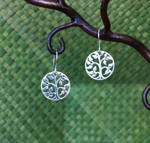 Sterling silver tree of life pendants and Argentium sterling silver ear wires