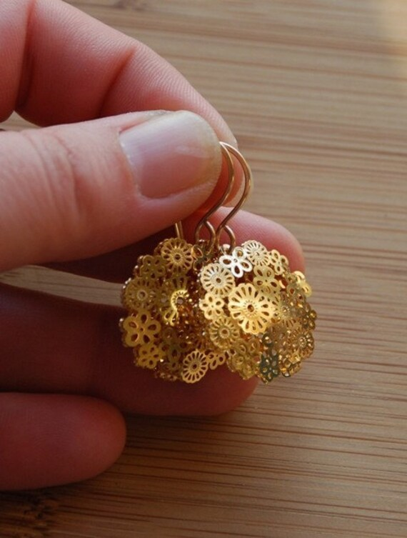 SALE - Gold floral discs and hand forged 14 karat gold filled ear wires - were 20 dollars, now 14 dollars
