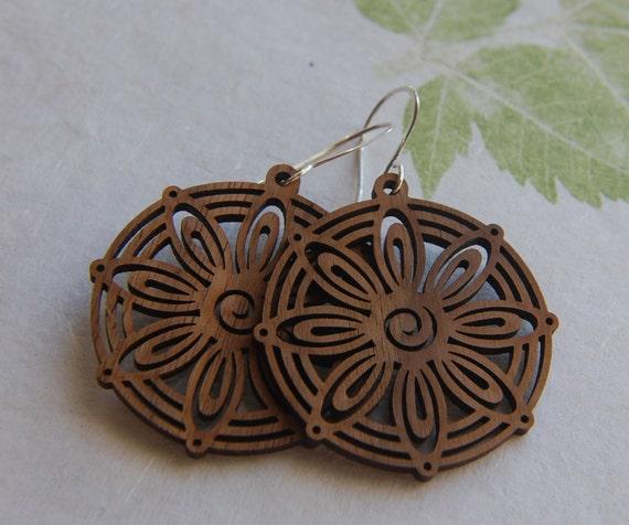 SALE - Walnut wood flower pendant earrings - were 22 dollars, now 16 dollars