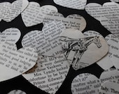 "100 Vintage 2"" Hearts from Classic Literature. Secret Garden, Black Beauty, Emma, Anne Of Green Gables and More"