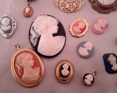 Vintage Cameos for upcycle crafting.  19 pieces. Now on sale