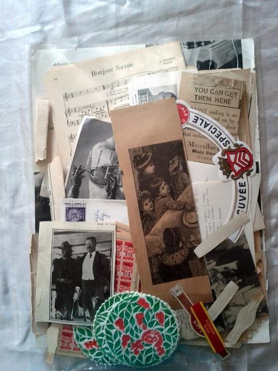 SALE Journaling Card Making Kit Huge Paper Destash Inspiration kit Over 100 pieces Scrapbooking, card making, collage, altered art Set 14