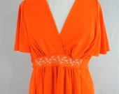 Vintage Dress Long Maxi Hostess Long Vintage Dress Orange Knit Fabric Short Sleeves Miss Elaine Dress