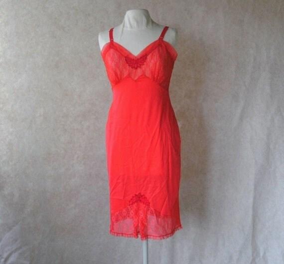 Vintage Red Slip Full 36 Lace Nylon Slip Vintage Full Slips