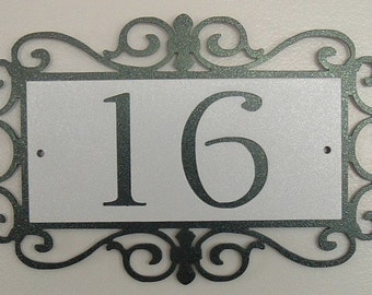 Fancy scroll Address sign, House sign, Address number, Metal art, street number, House plaque, House number, Wall plaque, Name plaque