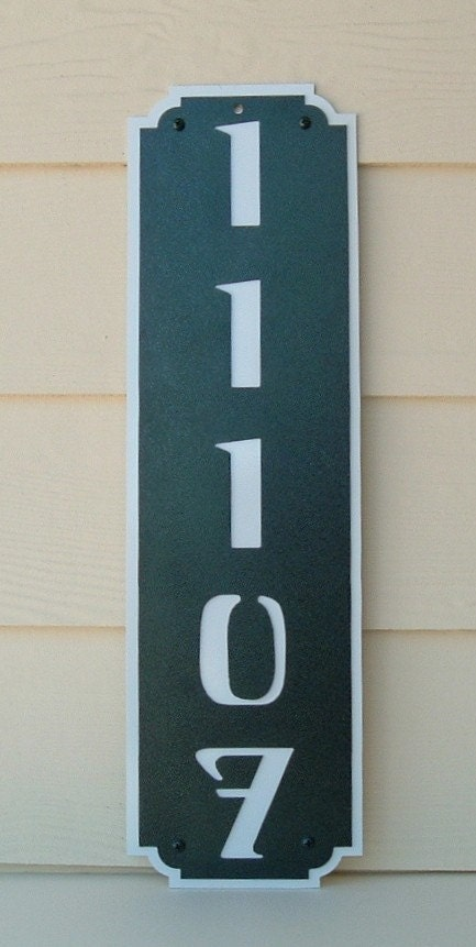 vertical address sign street number house number metal art. Black Bedroom Furniture Sets. Home Design Ideas