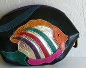 Vintage 80's Sharif Pieced Fish Make-up Bag