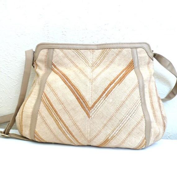 Vintage Valerie Barad Caramel Slubbed Chevron Bag