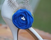 Private Listing for BLONDIE1220' Wedding Only, PRIORITY SHIPPING. ---Shoe Clip. Santorini - Royal Blue with Guinea Pig Feathers, Handmade, Embellishment, Accessory, Photo Prop, Fall Autumn Winter, Girly, Craftomania, by Sofisticata 29