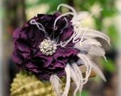 Hair Clip, Comb, Barrette Aubergine - Eggplant Purple, Red, Amethyst Flower. Fascinator Bride Bridal Bridesmaid, Rhinestone Crystals Pearls