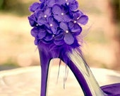 Hydrangeas Shoe Clips. Royal Purple / Blue / Red. Pearl & Feather. Sophisticated Bride Bridal Bridesmaid Couture Wedding, Bloom Bunch Petals